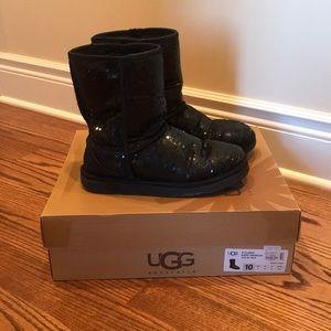 Short black sparkle UGG boots